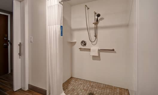 guest bathroom with accessible shower