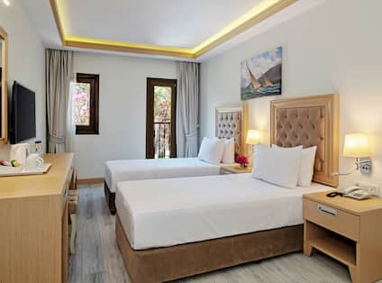 Guest Room with Two Twin Beds and tv