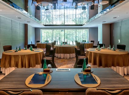 Meeting Room With Round Banquet Tables