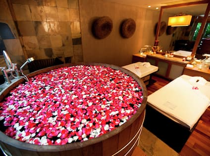 Spa Treatment Room with Tub Full of Rose Petals
