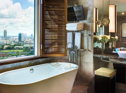 Executive Suite Bathtub with City View