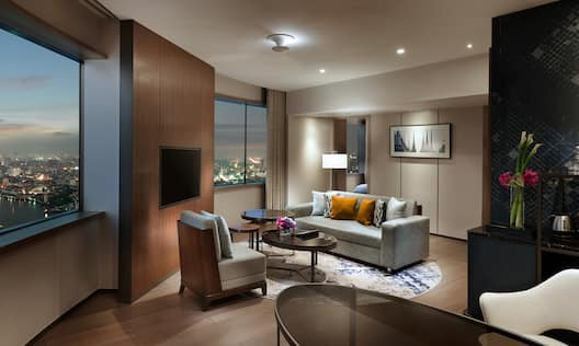 Family Suite Living Area at Night