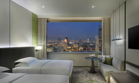 Twin Beds with Night Outside View