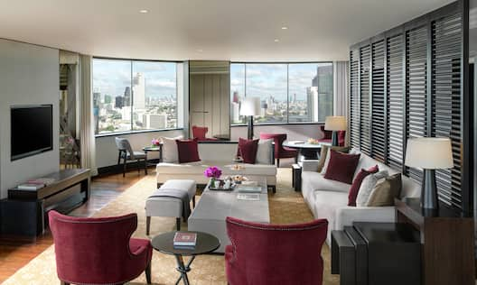 Comfortable Suite Lounge Area with Skyline View