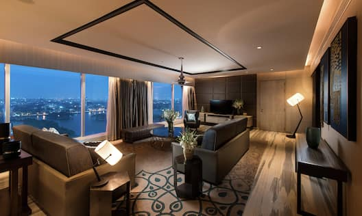Guest Presidential Suite Lounge Area with Sofas and Outside View