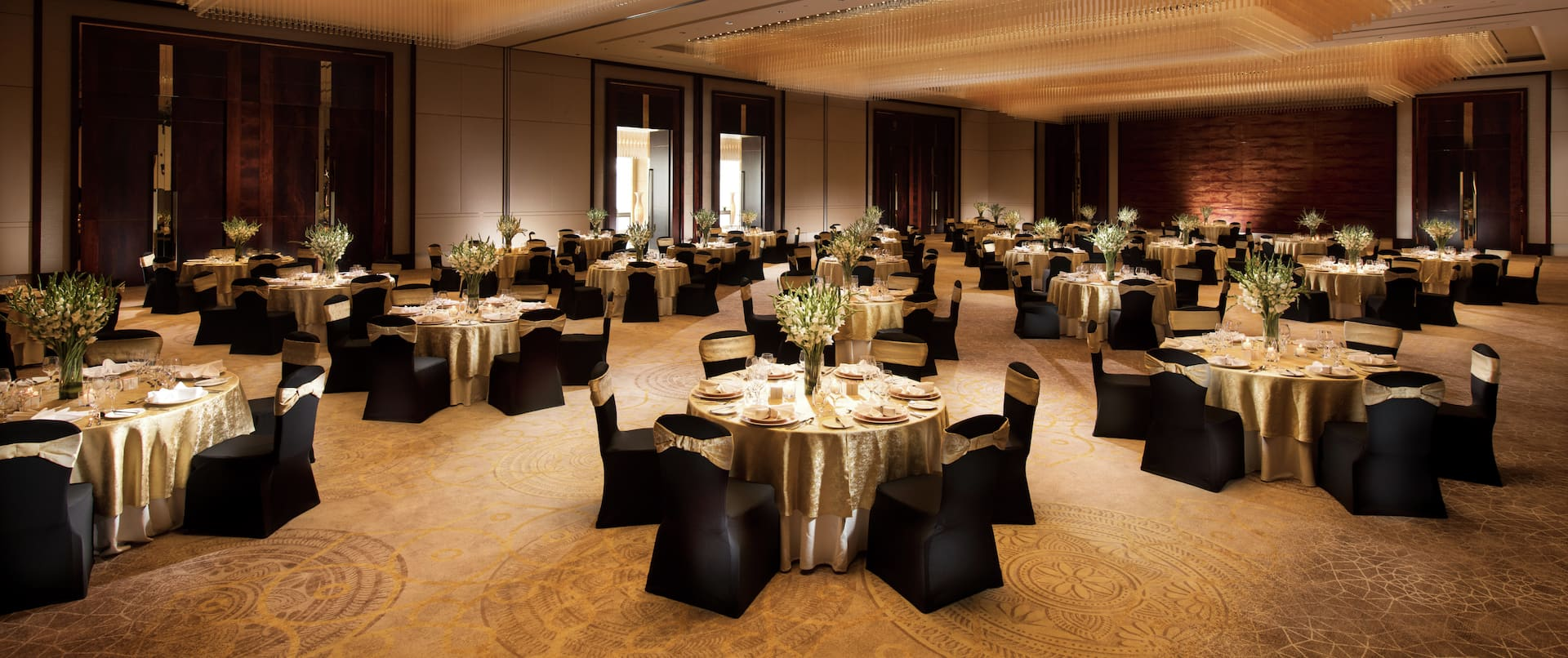 Ballroom Area with Round Tables and Chairs
