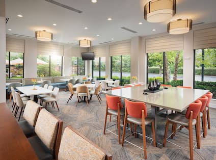 Dining area with tables and chairs