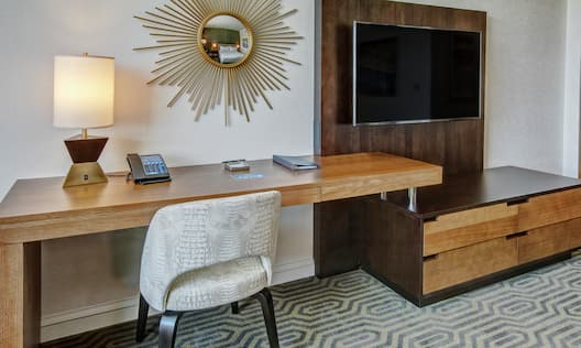 Large Work Desk and Television