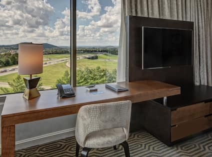 Executive King Corner with Work Desk, TV, and Outside View