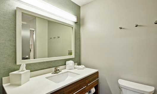 Bathroom sink with mirror and toilet