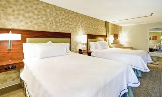 Closeup of Two Queen Beds in Guestroom