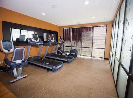 Cardio Equipment in Fitness Center With Large Windows