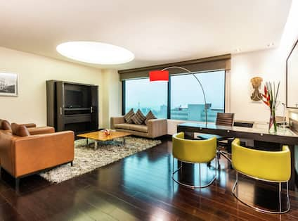 President Suite Living Area with Sofa TV Desk