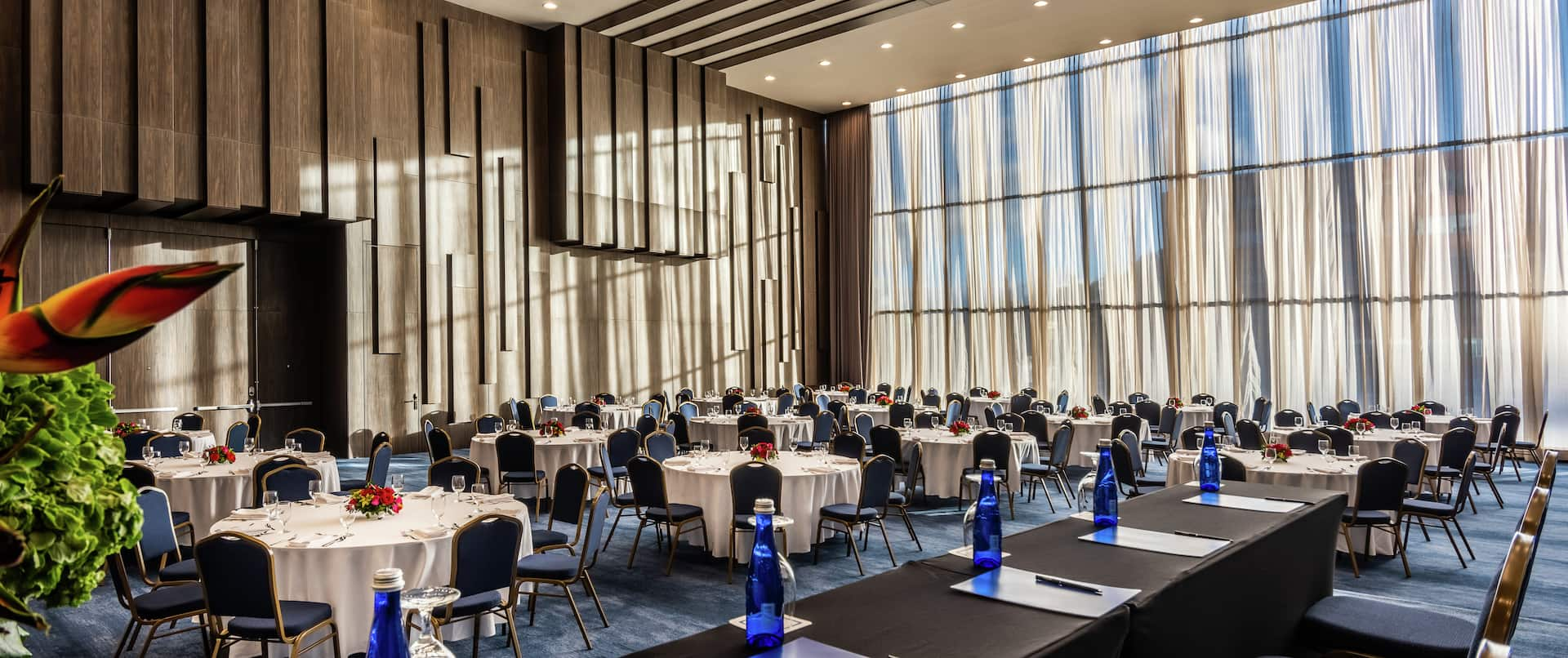 A Large Meeting Space Setup with Round Tables