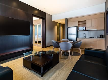 Suite Living Room and Kitchen Areas