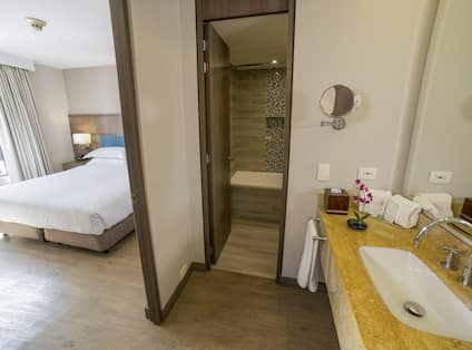 King Bed and Bathroom View