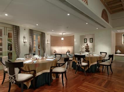 Round Tables in Restaurant Dining Area