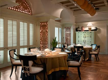 Restaurant Dining Area with Round Tables