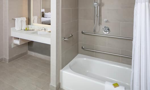 Accessible Guest Bathroom Tub with Handrails