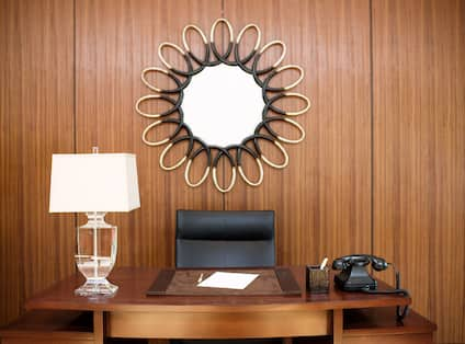 Concierge Desk with Lamp and Classic Telephone