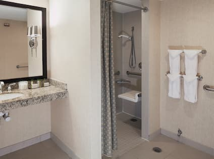 Large Vanity Mirror, Sink, Amenities, Roll-In Shower With Shower Seat, Grab Bars and Handheld Showerhead, Fresh Towels, and Grab Bars by Toilet in Accessible Bathroom
