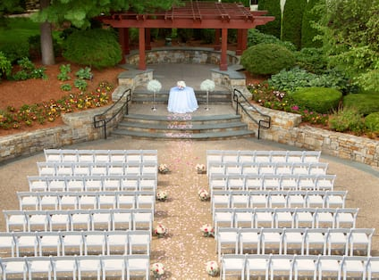 Aerial View of Upper Terrace With Chairs Setup Theater Style for a Wedding Ceremony