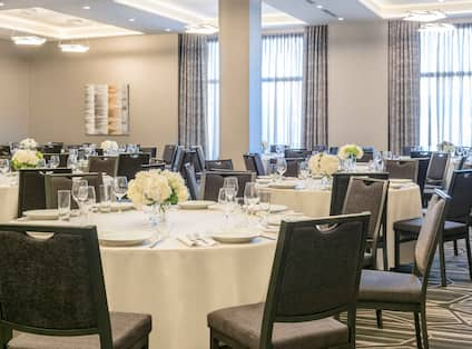 Banquet Setup with chairs and round tables