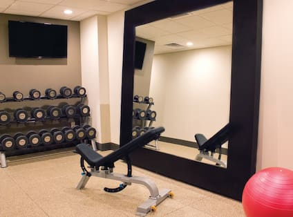 TV, Free Weights, Weight Bench, Large Mirror and Red Exercise Ball in Fitness Center