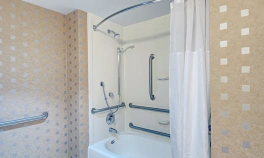 Accessible Guestroom Bathroom with Shower and Bathtub