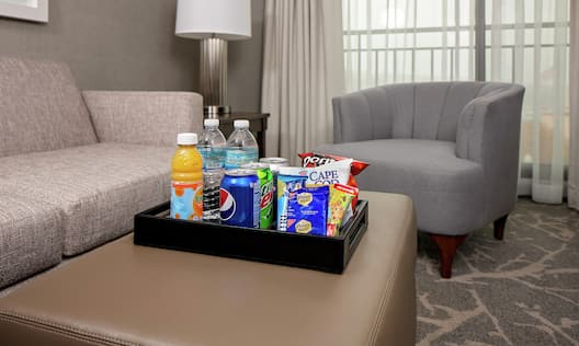 Guestroom with Couch, Table, and a Tray of Chips and Beverages with Outside View
