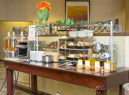 Beverage Station and Pastry Bar in Breakfast Buffet