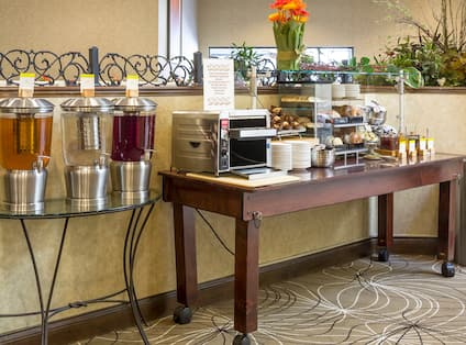 Angled View of Beverage Station and Pastry Bar in Breakfast Buffet