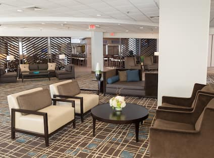 Soft Seating Around Tables and Illuminated Lamps in Lobby Lounge