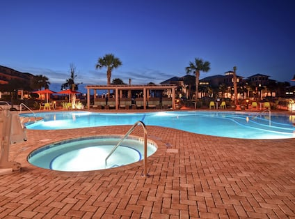 Outdoor Swimming Pool and Hot Tub- Night