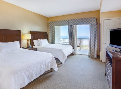 Accessible Two Queen Suite Ocean View Bedroom