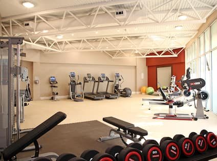 Fitness Centre With Free Weights, Weight Benches, Weight Machine, Cardio Equipment, Exercise Balls, and Window With Outside View