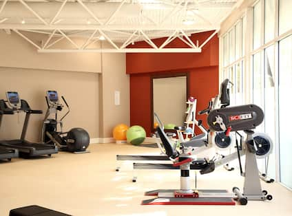 Fitness Center With Cardio Equipment, Stability Balls, and Large Mirror