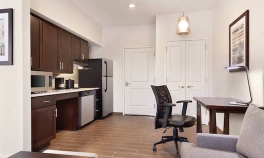 Kitchen and Work Desk in Accessible Suite