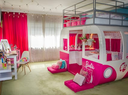 Barbie Themed Room Decorated in Pink Colors