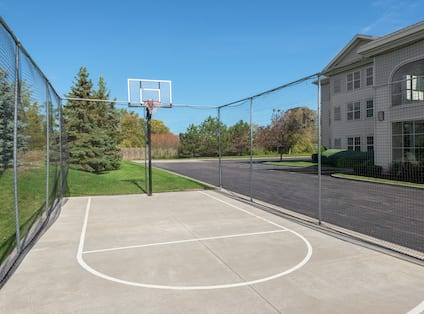 Play basketball on our sport court for some outdoor exercise!