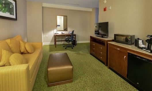 Living Area with Sofa Desk TV and Microfridge