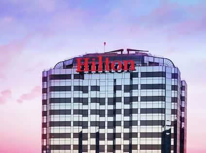 Hilton Hotel Exterior Shot at Sunset
