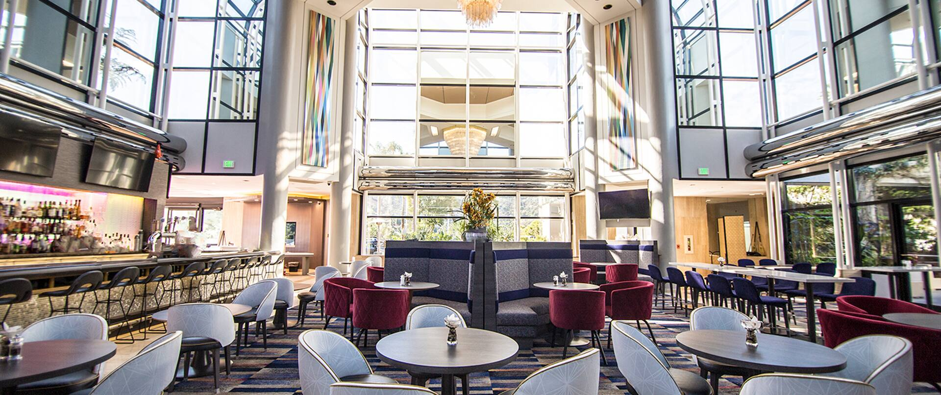 Seating in Lobby Lounge, with oversize windows.