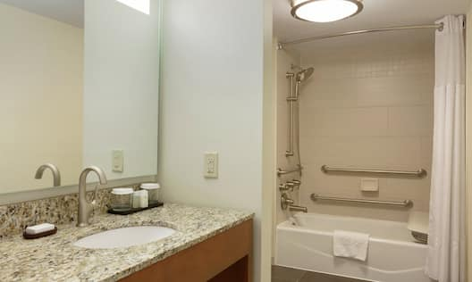 Premium Suite Bathroom with Accessible Shower and Bathtub with Grab Bars, Handheld Showerhead, and Transfer Seat