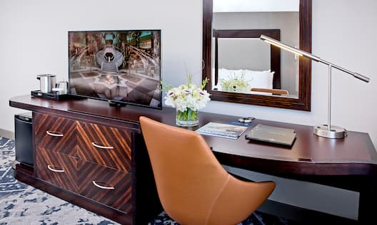Close-Up of Guest Room Work Desk and HDTV