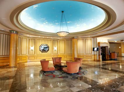Lounge Seating Under Dome With Sky View in Lobby