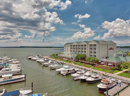 Aerial View of Hotel and Marina on a Sunny Day
