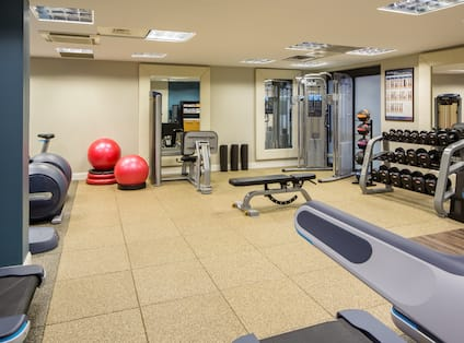 Fitness Center With Cardio Equipment, Red Exercise Balls, Large Mirrors Wall, TV, Weight Bench, Weight Machine, Weight Balls, and Free Weights,