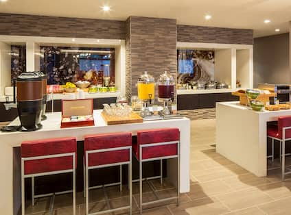 Hot and Cold Buffet and Beverage Selections in Breakfast Area