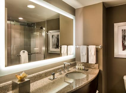 Shower With Glass Doors Reflected in Brightly Lit Vanity Mirror, Sink, Fresh Towels, Amenities, and Wall Art Above Toilet in Standard Bathroom